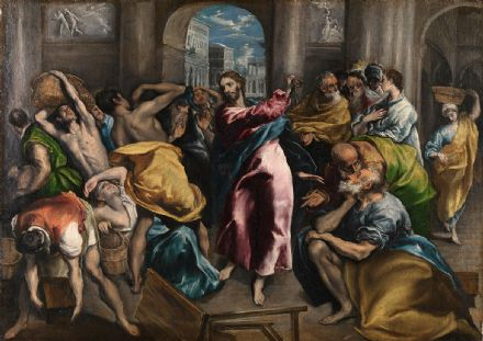Greco, El (Domenico Theotocopuli): Christ Driving the Traders from the Temple. Religious Fine Art Print/Poster. Sizes: A4/A3/A2/A1 (00157)